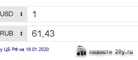 Курс Доллара на сегодня 16 января 2020 (USD)